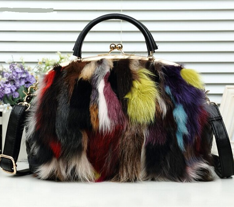 3281 New Fashion Lady Handbag Fox Fur Bag Color Plush Portable Shoulder Bags Women Natural Fur Messenger Bag