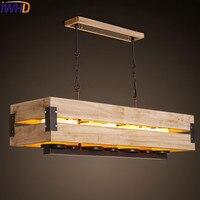 IWHD дерево Mdern подвесные светильники модная железная Подвесная лампа Светодиодная креативная мраморная 7 головок Подвесная лампа для столов...