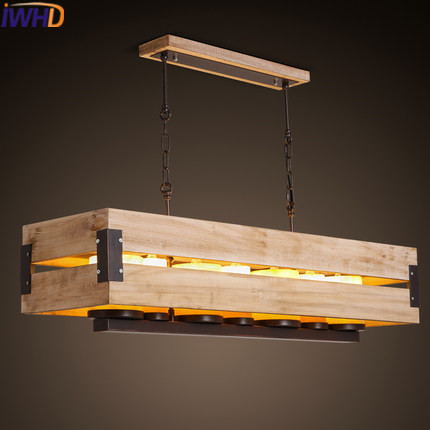 IWHD Wood Mdern Pendant Light Fixtures Fashion Iron Hanging lamp Led Creative Marble 7 Heads Hanglamp Dining Room Lamparas iwhd 3 heads iron hang lights led pendant light fixtures fashion wood modern pendant lamp kitchen bedroom e27 220v for decor