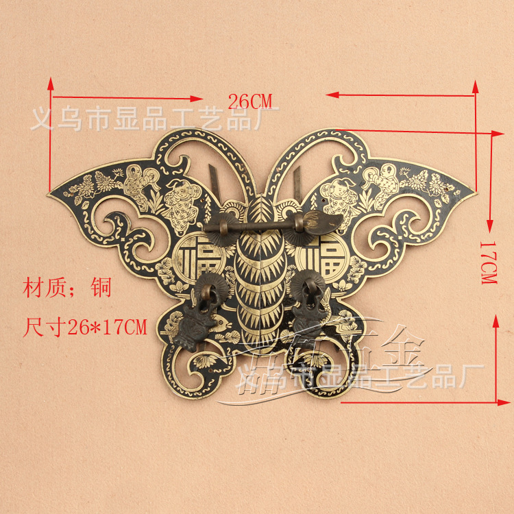 ФОТО Chinese antique furniture factory direct bronze copper fittings Ming copper door handle copper handle butterfly handle