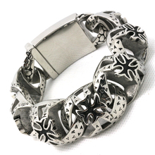 Mens Boys 316L Stainless Steel Cool Punk Gothic Cross Link Cool Big Bracelet Factory Price
