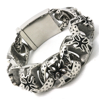 Mens Boys 316L Stainless Steel Cool Punk Gothic Cross Link Cool Big Silver Bracelet Factory Price