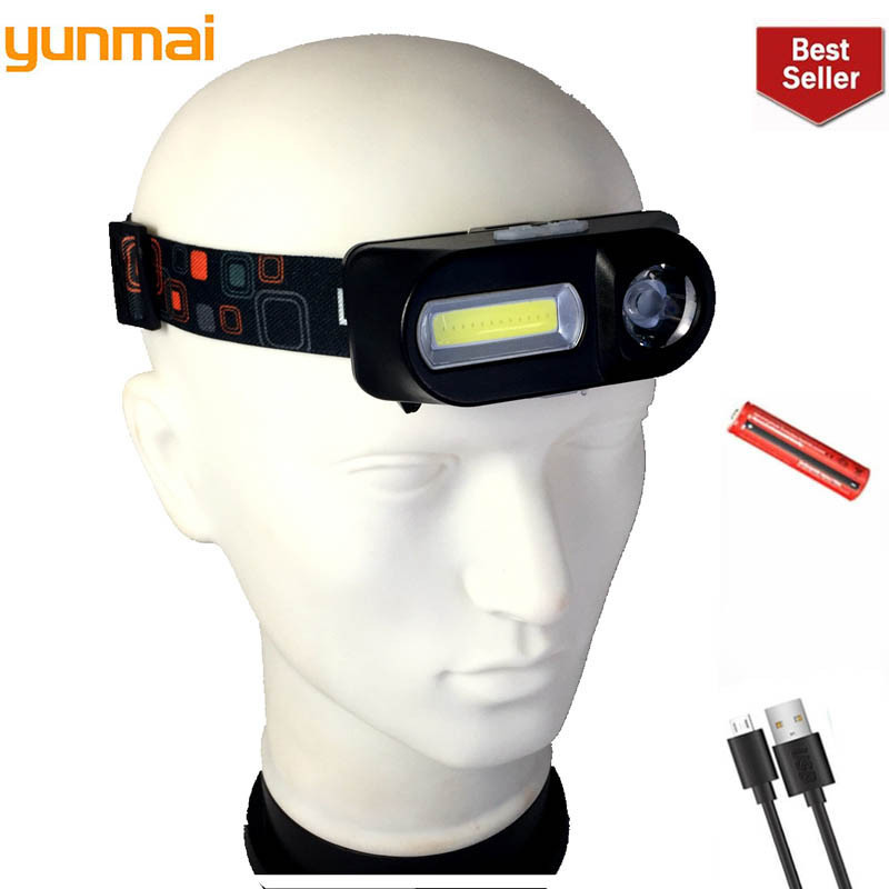 YUNMAI USB Rechargeable Headlight LED 18650 Hot Sale COB Head Lamp Camping Portable Light On Head Lantern Powerful Flashlight