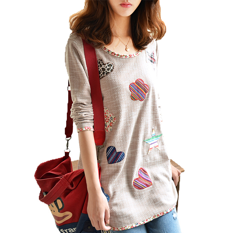 plus size women t shirts Casual Loose Fashion Patched Long Sleeve long T-shirt Tops