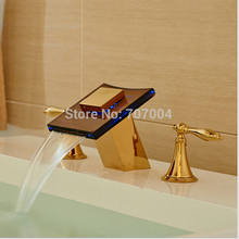 Waterfall Wall Mounted 3 Colors LED Bathroom Sinks Mixer Tap Faucet Bathroom Hot And Cold Water