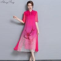 2018 summer long cheongsam dress modern qipao dress sexy chinese dresses chinese traditional dress vestido oriental qipao V881