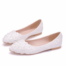 Women Hot Selling Real Lace Crystal Single Shoes Woman Luxury Brand Shallow Mouth Wedding Pointed Toe Flats XY-A0173