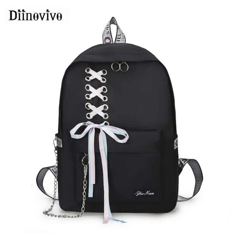 DIINOVIVO Fashion Big Capacity School Bag Laptop Backpack Female Canvas Bags  for Women Ribbon Chain Backpacks e88e9e2abf074