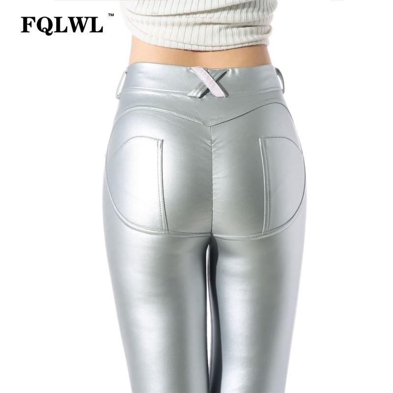 FQLWL Plus Sizes PU Leather Pants Women Elastic Waist Hip Push Up Black Sexy Female Leggings