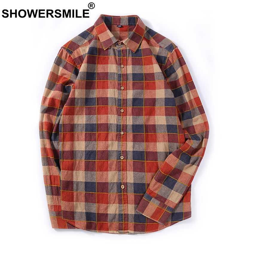 SHOWERSMILE коричневый плед рубашки для мужчин фланель повседневное рубашка с длинными рукавами мужской хлопок Slim Fit клетчатый осень британский стиль Костюмы