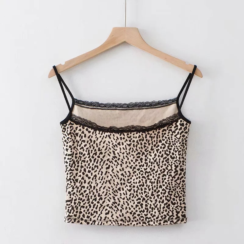 HTB1OTUKUxYaK1RjSZFnq6y80pXap - Women Fitted Ribbed Cropped Spaghetti Strap Tank Top In Leopard Print