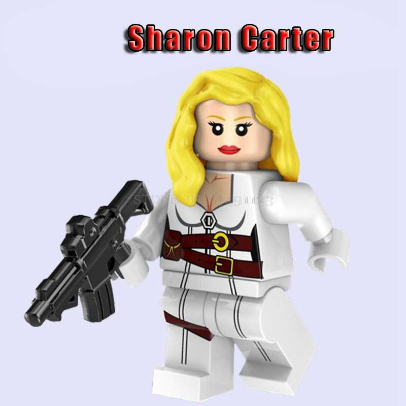 Brinquedo blocos de Sharon Carter Thanos Pepper Potts Mini Bloco Brinquedos Capitão América Marvel Thor IronMan X-MEN Jean Grey Hulk Vingadores