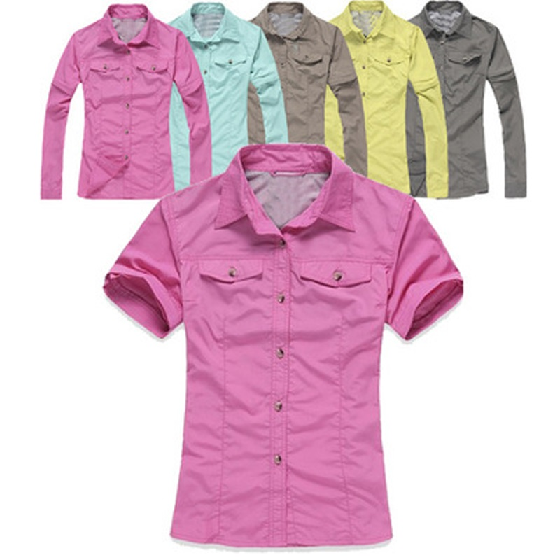 2017 New Women Summer Removable Fishing Shirt Outdoor Sport Quick Dry Removable Shirts Breathable UV Hiking Camping Clothing 092