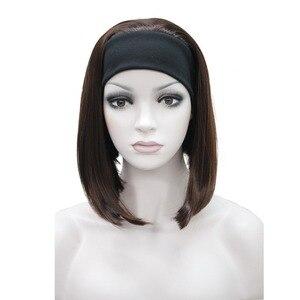 Image 5 - StrongBeauty ミディアム丈ストレート 3/4 黒/ブロンド女性のヘッドバンドかつら 10 色