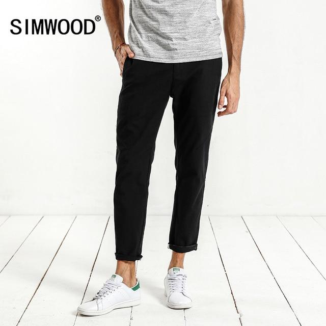 dc732d6313e5a SIMWOOD 2018 Summer New Pants Men Cotton Elastic Waist Casual Trousers Slim  Fit Ankle-Length Pants XC017003