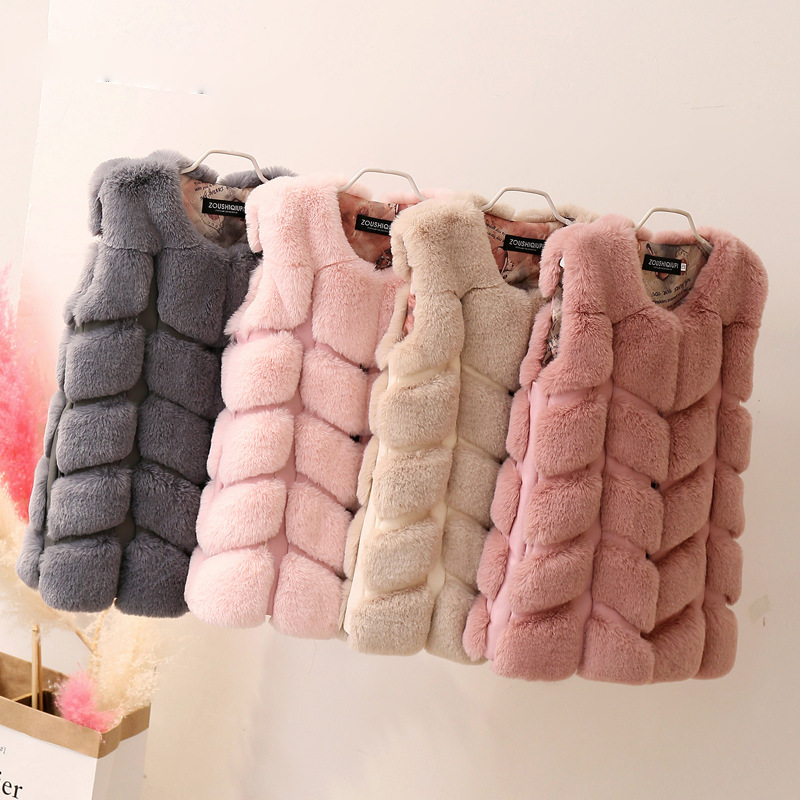 Children Warm Vest New Winter Faux Fox Fur Girl Clothes Girl faux fur Coat imitation Fur Vest Children Girls Plush Waistcoat curved faux fur vest