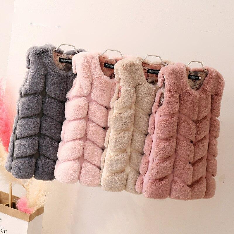 Los niños chaleco caliente nuevo invierno Faux Fox Fur ropa de niña chica faux fur Coat Imitación Piel chaleco niñas niños felpa chaleco
