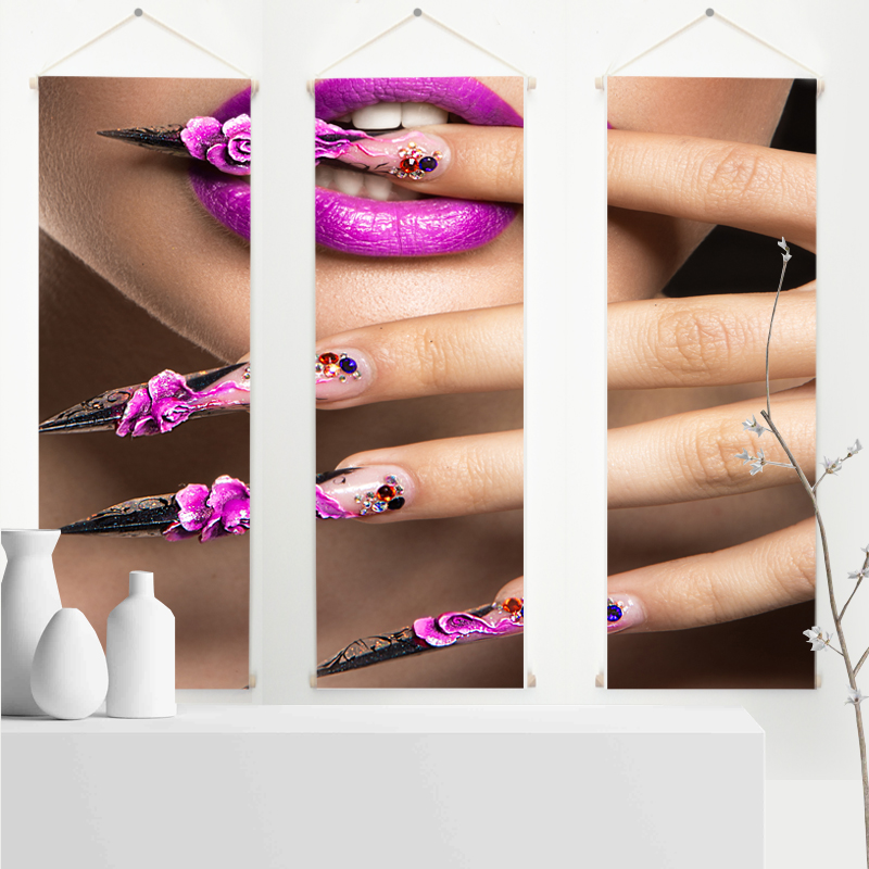 Nail Art Decorations Canvas Poster Nail Art  Canvas Print Paingting with Hanger Cuadros Decoracion Salon Quadro  Wall Art Canvas