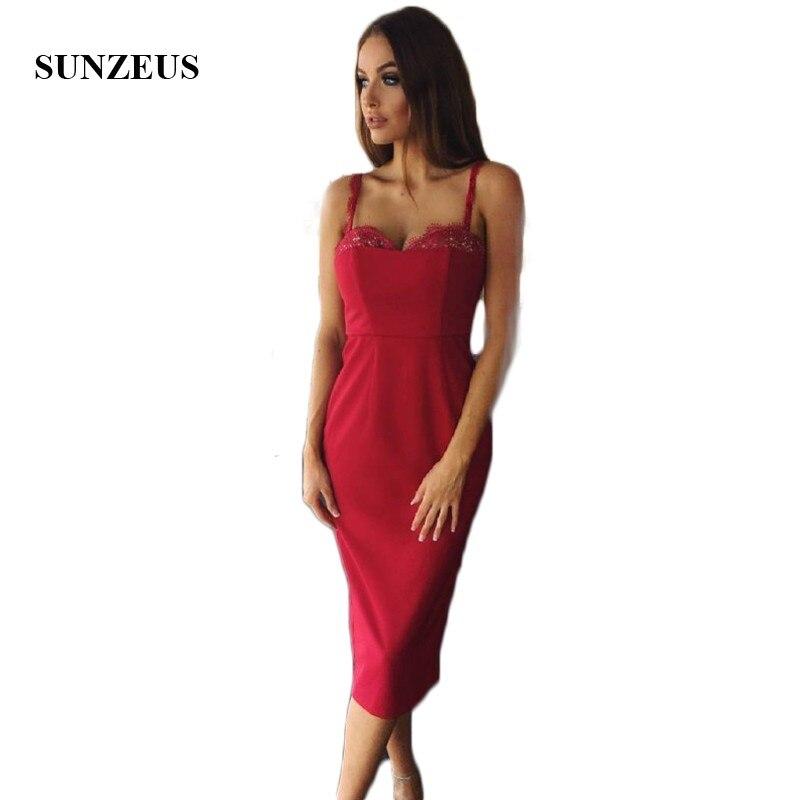 Fashion Red Bridesmaid Dress 2017 Spaghetti Straps Sweetheart Knee