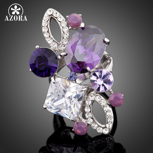 AZORA Unique Design White Gold Color Purple Stellux Austrian Crystal Ring TR0055