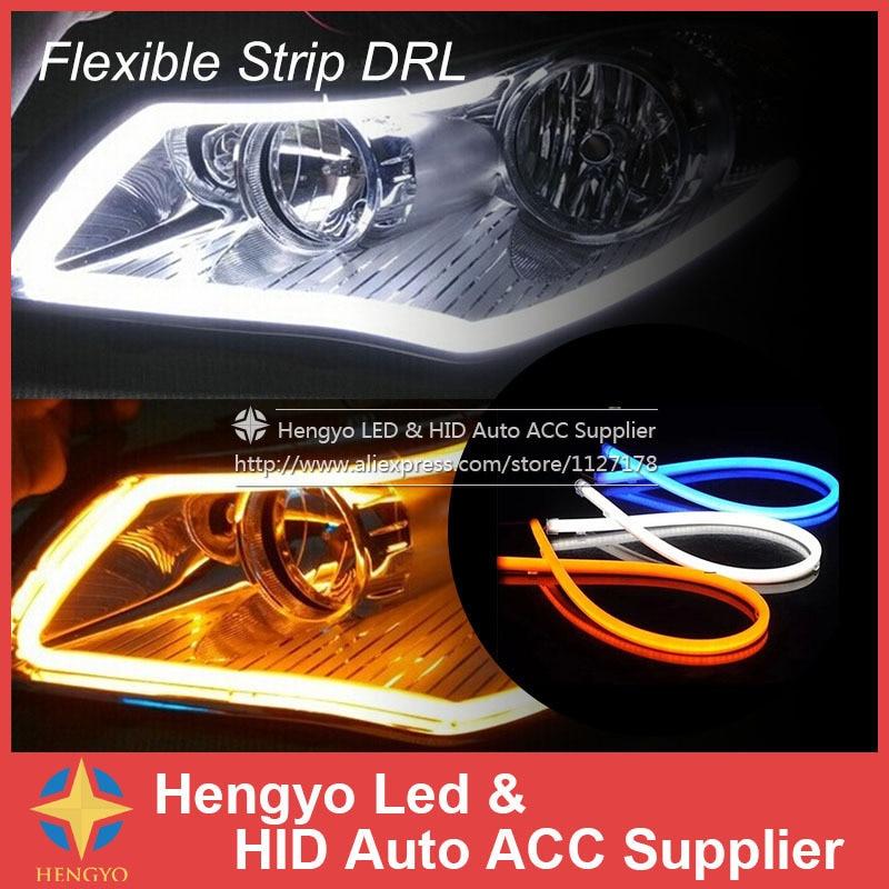 Luces externas 60 cm DIY Color ámbar Tira flexible Tubo de señal de - Luces del coche
