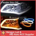 Luzes externas 60 cm DIY Cor Âmbar Sinal de Volta Tira Flexível Tubo Angel Eye DRL LED de Circulação Diurna Cabeça Farol luz