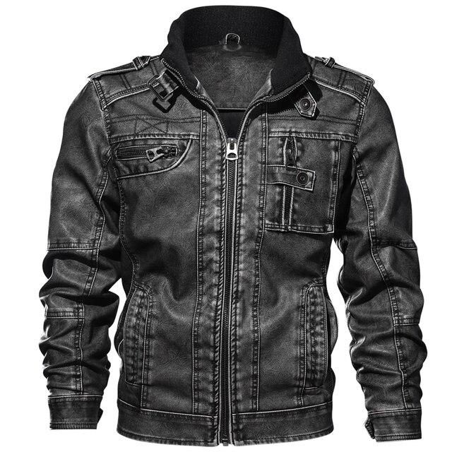 Chaquetas de cuero PU para hombre, prendas de vestir informales, rompevientos, chaquetas de cuero para Fitness para motocicleta, 6XL 7XL chaqueta de cuero, venta al por mayor