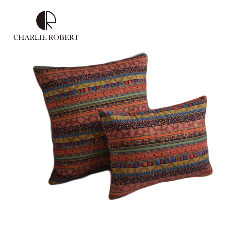 boho fashion national flavor cushions cover for sofa cushion sale striped throw pillows