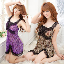 Lady Sexy Pink Purple Brown Leopard Lingerie Babydoll Chemise Nightie M-XXL 8-16