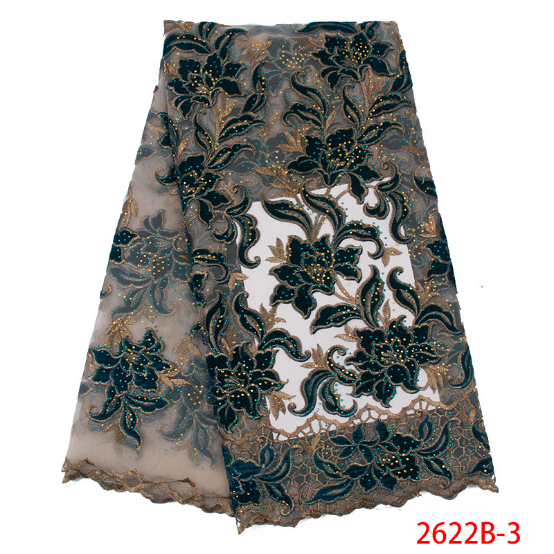 Hot Sale Lace Fabric High Quality African Embroidery Tulle Mesh Lace Fabrics With Stones Nigerian Net Lace KS2622B-3