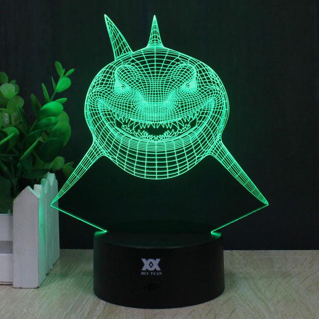 Hy grande tubarão branco 3d controle remoto luz conduzida da noite candeeiro de mesa de toque Desk Lamp 7 Alterar Cor LED USB Carregador de Presente Cartão Multifunções