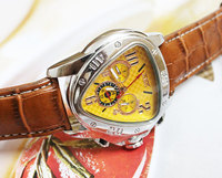 wholesale Unique Yellow Dial Mens Auto Mechanical Watch Grown Band