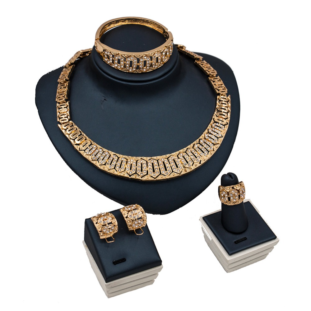 LAN PALACE african jewelry sets 2017 gold color ladies jewellery set earrings necklace ring bracelet free shipping
