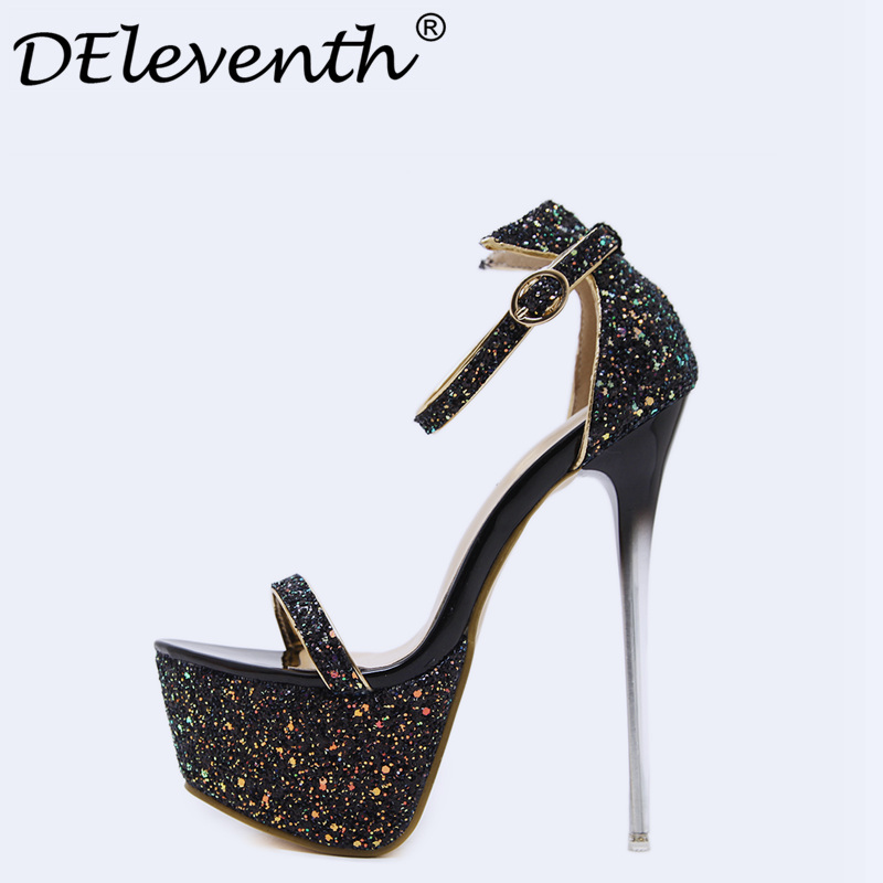 2018 New Fashion Bling Gitter Platform 16.5cm Ultra High Heels Woman Shoes Nightclub Sexy Sandals Party Dress Shoes Pink US4-8.5 brand new qitong pu 13cm woman thin ultra heels platform lady sandals nightclub t walk woman shoes high heeled sexy party shoes