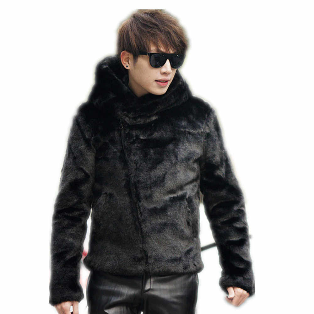 8b37d4163 ... y faux fur coat with hooded ,fake mink hair slim short design Inclined  zipper hood