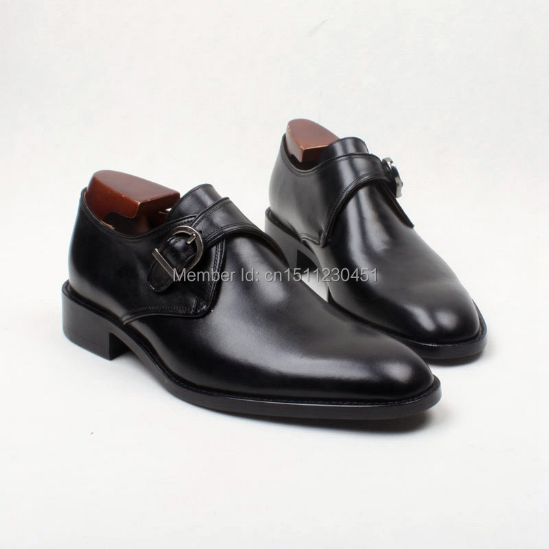 obbilly Round Toe Color Black Single Monk Straps Plain Toe  Calf Leather sole shoe Classic Dress Handmade Men's Shoe No. Ms121