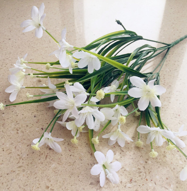 Plastic Leaf Bunch Fake White Orchid Flower Leaf Grass Plant ...