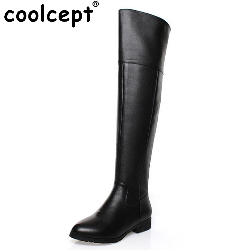 CooLcept Free shipping over knee long boots natural real genuine leather boots women boot high heel shoes R5017 EUR size 34-42 35 55mm door thickness door handle brass lock with 70mm key lock page 4