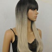 5940f589f جينر التصميم طويل مستقيم شعر مستعار أسود رمادي السحب ملكة شعر مستعار(China)