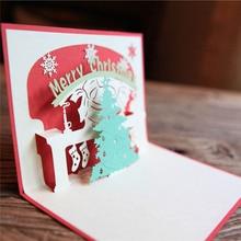 Елки счастливый открытка pop год up работы ручной