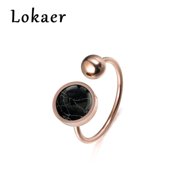 Lokaer Trendy Jewelry Ring Round Shape White Magnesite Rose Gold Color Titanium Steel Anniversary Rings For Women Anillos Mujer