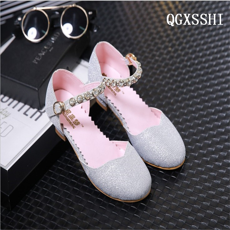 QGXSSHI Spring Autumn Summer Crystal Girls Sandals Children high heel Shoes For Kids Sandals Girls in wedding dress shoes ...