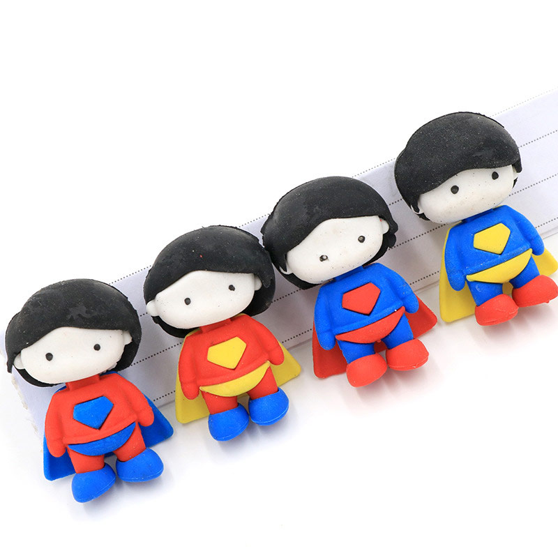 2 Pcs Creative Super Hero Boy Doll Pencil Eraser Cute Animal Removable Rubber Eraser Kawaii Stationery School Supplies Kids Gift