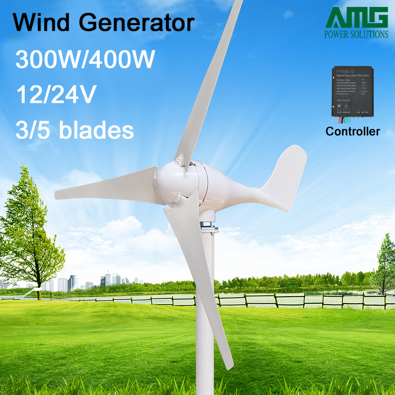 300W/400W 12V/24V 3/5 blades horizontal wind turbine generator home use + waterproof wind charger controller