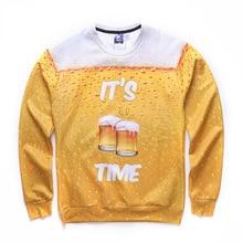 2017 new Autumn men sweatshirt yellow beer printed 3d hoodies Men long sleeve o-neck sweatshirts Teenage Boy hoodie Clothing
