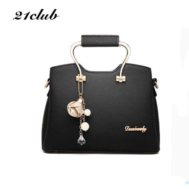 21club brand new women fashion ornaments totes solid metal handle handbag hotsale ladies purse messenger crossbody shoulder bags