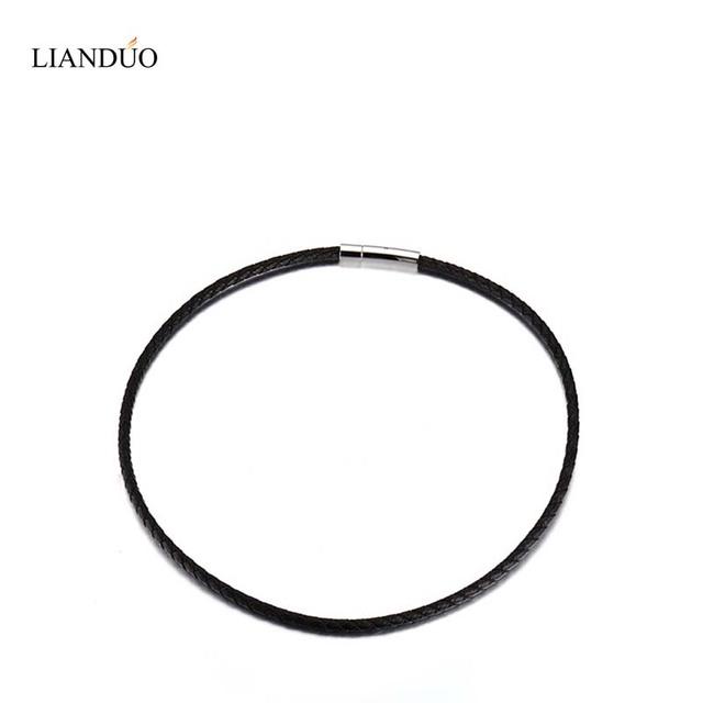 """Griego Meaeguet 10 UNIDS Nueva Negro cordón de Cuero Trenzado de Cuerda Collar de Cadena de Cierre de Acero Inoxidable, 3mm, 4mm. 5mm 18 """", 20"""", 22 """"pulgadas"""