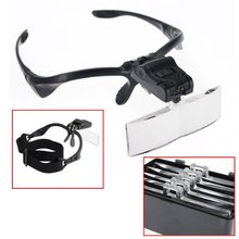 Headband Magnifying Glass Eye Repair Magnifier 2 LED Light 1.0/1.5/2.0/2.5/3.5X 5PC Glasses Loupe Optical Lens  jeweler watchmak headband magnifying glass eye repair magnifier 2 led light 1 0 1 5 2 0 2 5 3 5x 5pc glasses loupe optical lens jeweler watchmak
