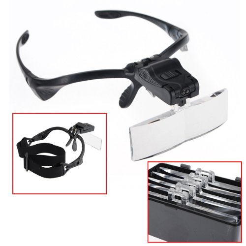 Aletler'ten Büyüteçler'de Kafa Büyüteç Büyüteç Göz Onarım Büyüteç 2 led ışık 1.0/1.5/2.0/2.5/3.5X5 ADET gözlük Büyüteç Optik Lens kuyumcu watchmak title=