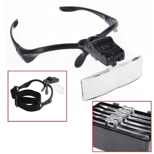 Stirnband Lupe Augen Reparatur Lupe 2 LED Licht 1,0/1,5/2,0/2,5/3,5X5 stück Gläser Lupe Optische Objektiv juwelier watchmak